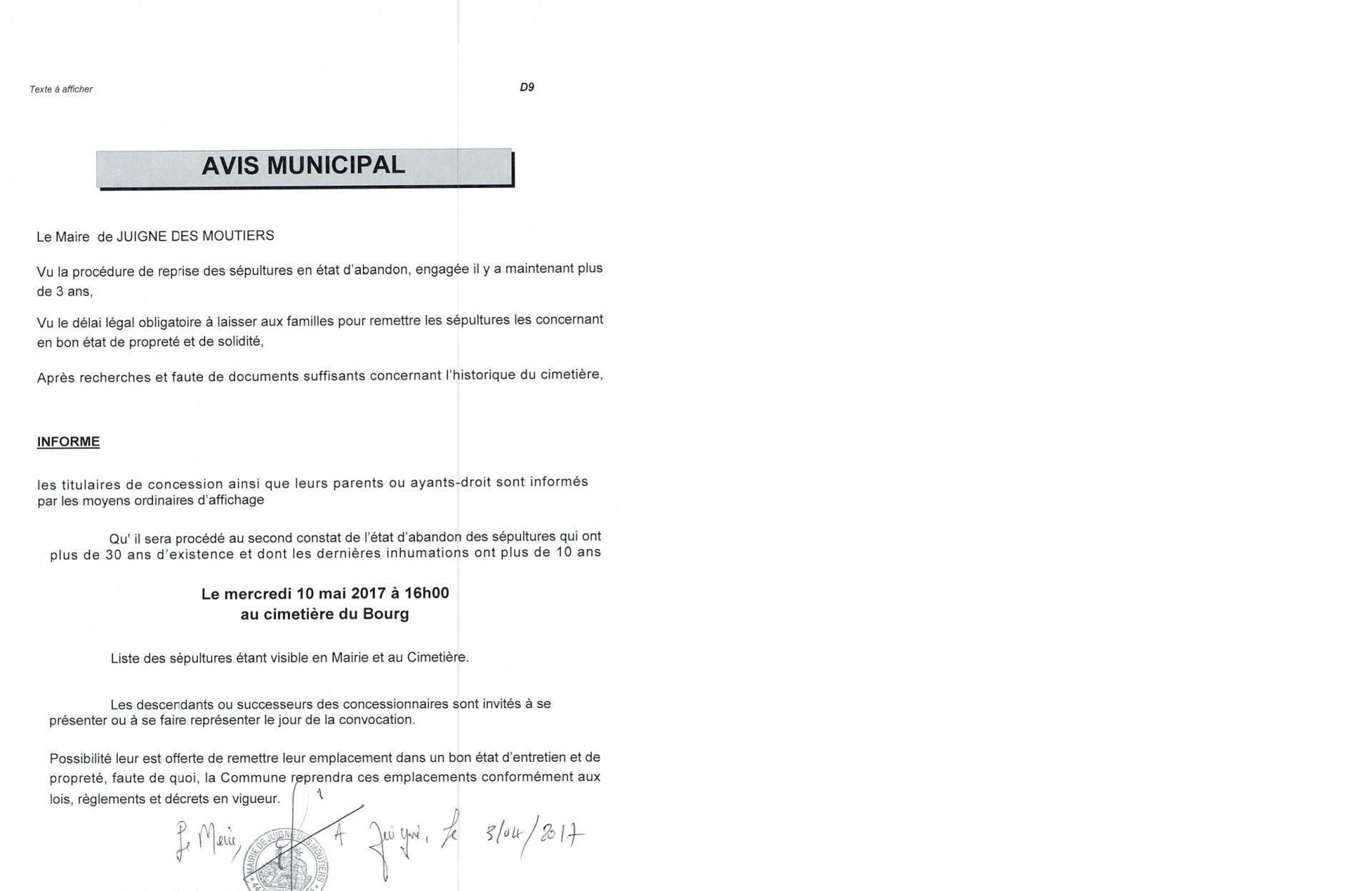 Avis municipal