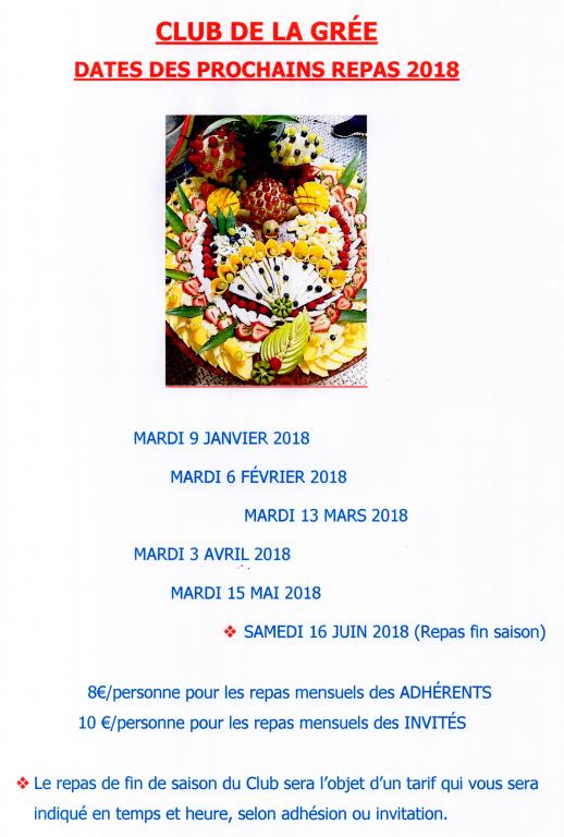 Dates repas la gree 2018