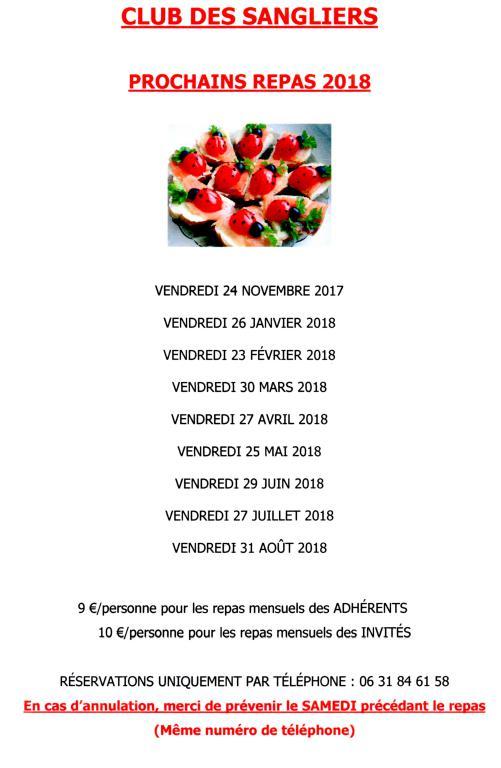 Dates repas les sangliers