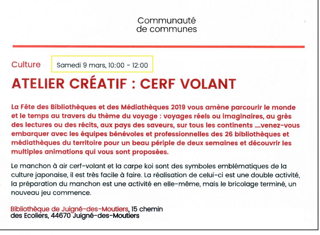 Atelier cerf volant samedi 9 mars 2019