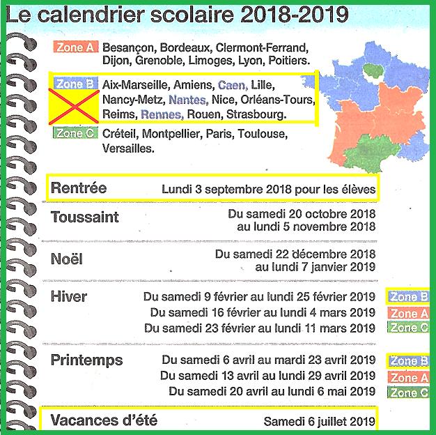 Calendrier vacances scolaires 2018/2019