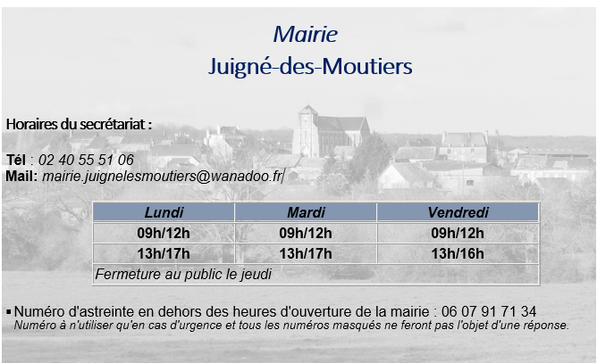 Horaires mairie 2021